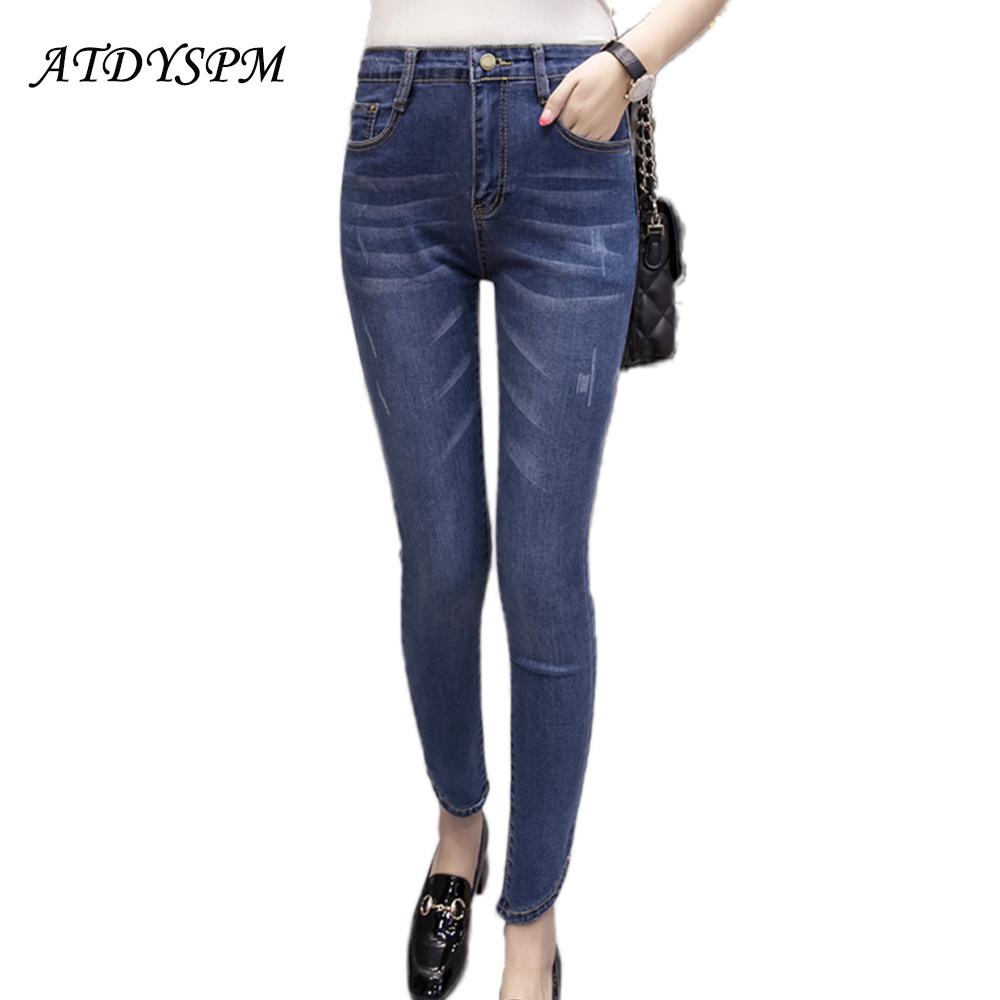 Plus Size S-5XL Cotton Jeans For Women Female 2017 Vintage High Elastic Denim Jeans Femme Washed Casual Skinny Pencil Pants thunder star women flower printed skinny jeans femme plus size female 2017 ladies blue denim pencil pants casual brand fashion