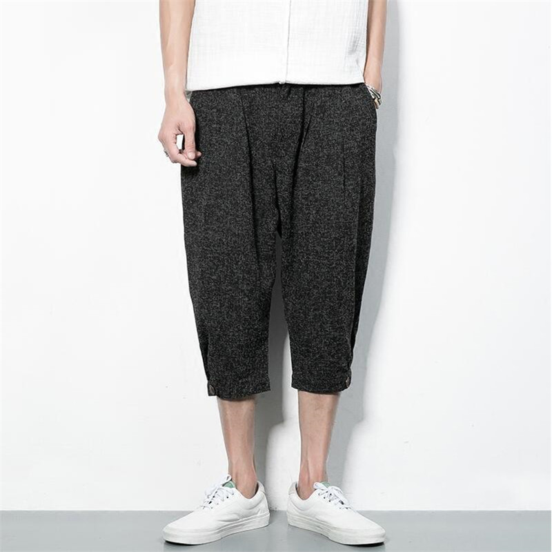 Baggy Zipper Harem Pants Men Cotton Linen Summer Jogger Calf-Length Pants Loose Packets Casual Fashion Men Trouser A3198