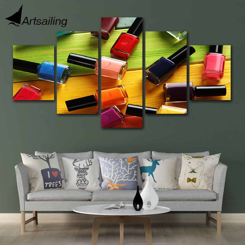 Wall Art Poster Modular Canvas HD Prints Paintings 5 Pieces Pictures Nail oil Beauty Salon Home Decor For Living Room Framework