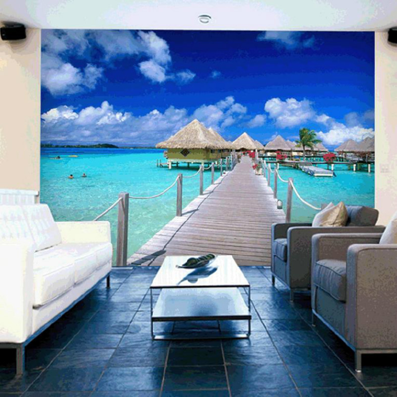Mural Any Size Tv Wall Sofa Blue Sky Wall Wallpaper Photo Scenery Living  Room Wall Paper Decoration Painting 3d In Wallpapers From Home Improvement  On ...