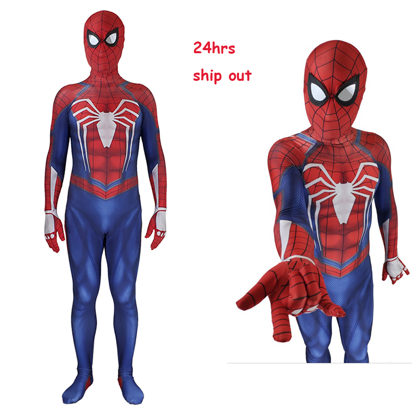 Avengers spiderman homecoming spiderman PS4 spiderman mask removable jumpsuit for Halloween cosplay costume for kid and adult