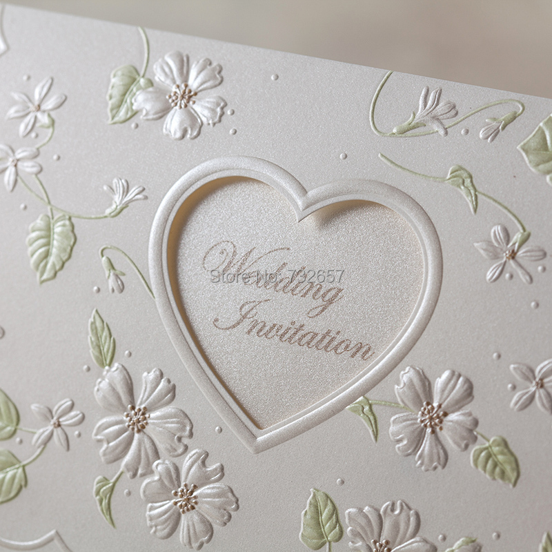 White Wedding Invitations Blank Cards Floral Heart Shape 170*115mm ...