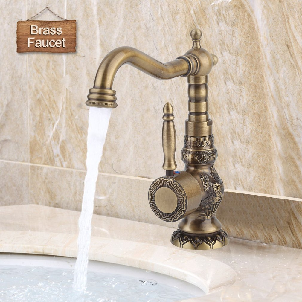 European Antique Exquisite Carved Copper Brass Basin Faucet Single Hole Rotate Mixer Ceramic Plate Spool Bathroom Tap Short/High