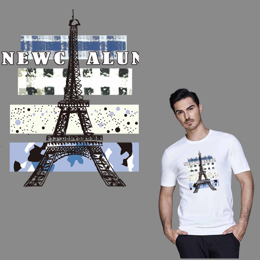 The Eiffel tower Paris iron on transfer for clothing iron on patches applique badge thermal transfer diy sticker washable cheap