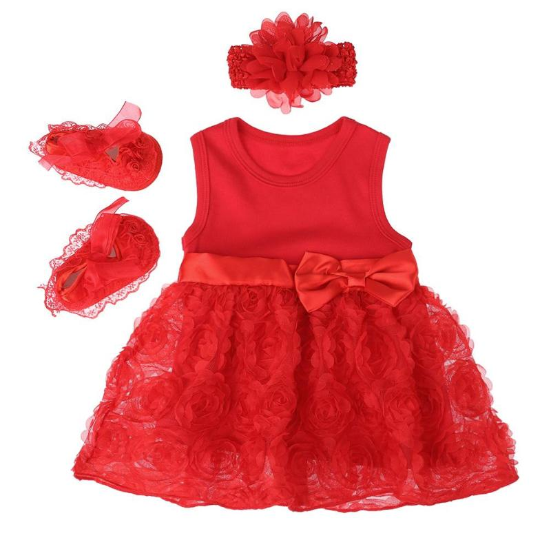 New Born Baby Girls Infant Dress 3pcs Newborn Baby Girls Clothes Set Dress Shoes Headband Party Outfits Gift Baby Gown Dress