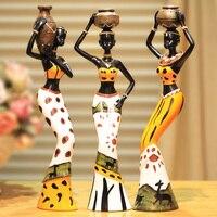Free Shipping Resin Folk Art Love 3 African Girls Home Decor Resin Figurine Folk Art Home