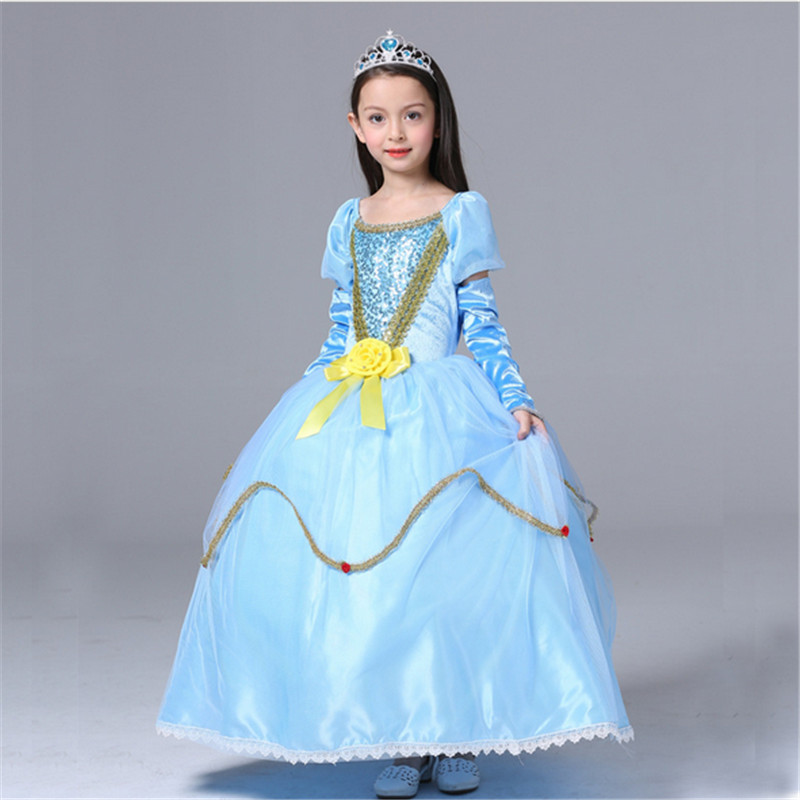 2018New high quality Cinderella blue Dresses girl cartoon Princess Dress Cosplay Clothes Party Dress Children Halloween costumes