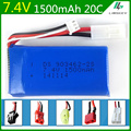 7.4V 1500mAh  Lipo battery For FT009 Remote control boat speedboat battery Lipo 2S 7.4 V 1500 mah 903462-2S EL JST SM KET T PLUG