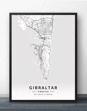 Gibraltar Map Poster field henry martyn gibraltar