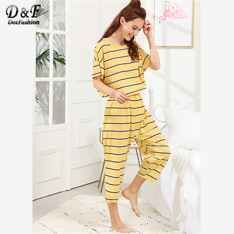 Dotfashion Striped Top And Pants PJ   Set   2019 Summer Girls Round Neck Short Sleeve Yellow Nightwear Women Casual   Pajama     Set