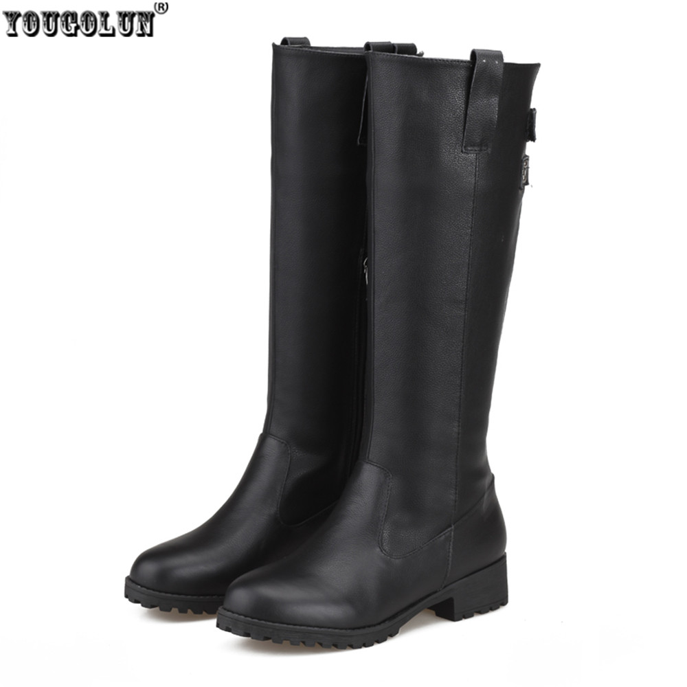 YOUGOLUN Russia sexy ladies fashion buckle winter woman boot genuine leather women black shoes female thigh high knee high boots yougolun ladies fashion thigh high over the knee boots woman autumn winter womens female sexy nubuck suede leather women shoes