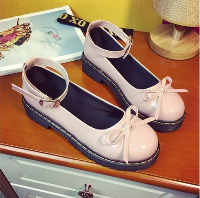 Student Lolita Shoes College Girl JK Commuter Uniform Shoes PU Leather Mary Jane Shoes Bowknot Platform Shoes