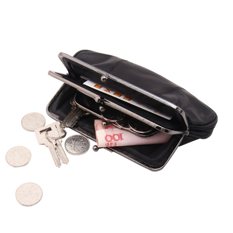 Genuine Leather Travel Coins holder Bag Leather Cash Case Wallet License Credit Card Holder Sheepskin Coin Purse Change Holder
