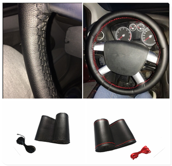 Car shape microfiber leather hand sewing steering wheel cover 38cm for BMW all series 1 2 3 4 5 6 7 X E F-series E46 E90 image