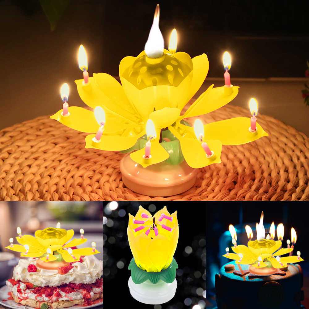 Innovative Party Cake Topper Musical Lotus Flower Rotating Happy Birthday Candle w/ 8 Small Candles