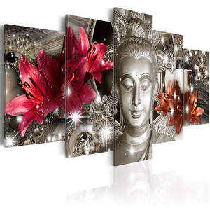 Flowers Wall Art Canvas HD Print Poster Frame Living Room Home Decor 5 Pieces Buddhism Abstract Pictures Buddha Statue Painting