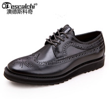 Odescalchi модные из натуральной кожи bullock резные Туфли-оксфорды мужские в британском ретро стиле на плоской подошве со шнуровкой Мужские модельные туфли