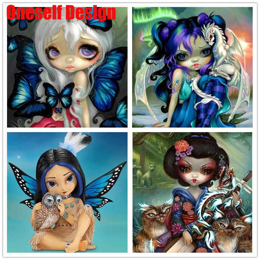 2019Great Diamond Painting Cartoon Girl Diamond Mosaic Sale 5D Diamond Embroidery Magic Girl  Rhinestone Pictures Diamond Mosaic
