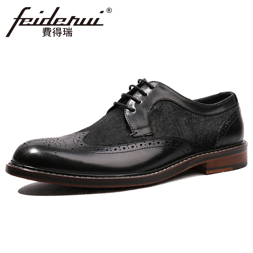 Luxury Genuine Leather Handmade Mens Banquet Footwear Round Toe Fur Man Formal Dress Wedding Party Carved Brogue Shoes HQS131