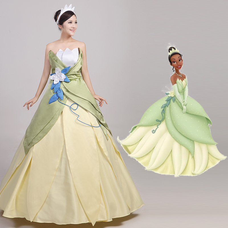 The Princess and the Frog Princess Tiana Dress Cosplay Costumes Adult Halloween Party Costume For Women
