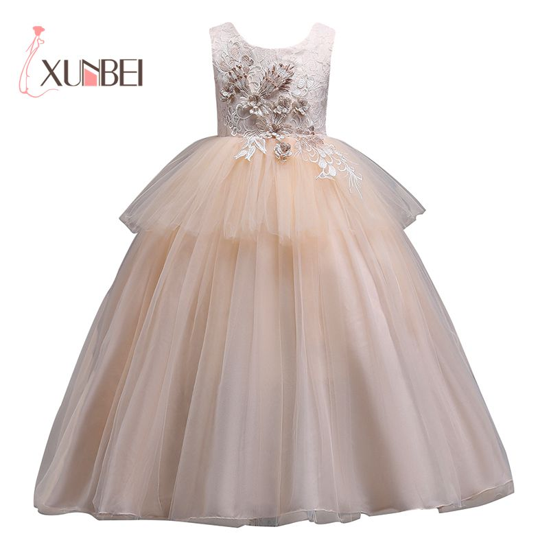 Ball Gown Long Champagne   Flower     Girl     Dresses   2019 Floral Applique   Girls   Pageant   Dresses   First Communion   Dress   Wedding Party Gown