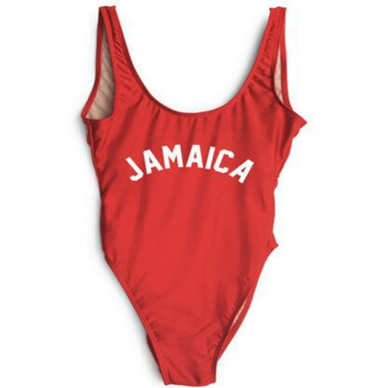 JAMAICA Funny Letter Bodysuit Sexy Backless One Piece Swimsuit Cut Out Beach Swimwear Swim Suits Women Monokini Bathing Suits