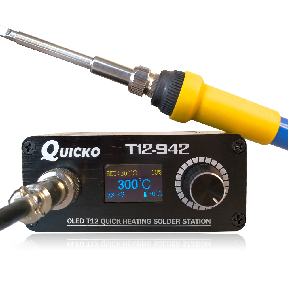 2019 Quicko T12-942 MINI soldering station with EU adapter 24V3A solder T12 iron tip Portable welding tool finished machine