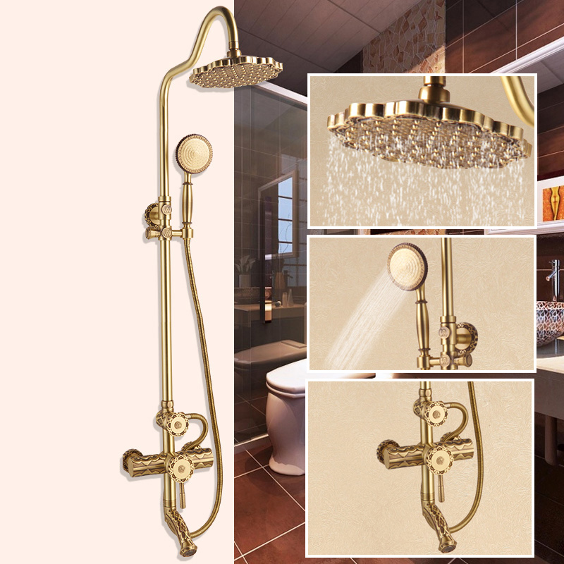 High-end Bathroom Shower Faucet Set Rainfall 8Shower Head Wall Mount One Handle with Tub Spout Bath Shower Mixer Taps