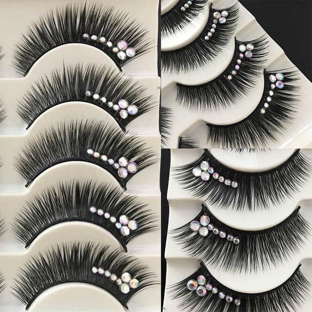 1 Box Shimmery AB Crystal False Eyelashes Stage Performance Latin Fake Eyelashes Exaggerated Stage Makeup Thick Long Eye Lashes 3