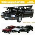 1:32 escala Diecast coche de Metal de aleación para TheVolks wagen SANTANA Collection modelo tire los juguetes del coche con sonido y luz