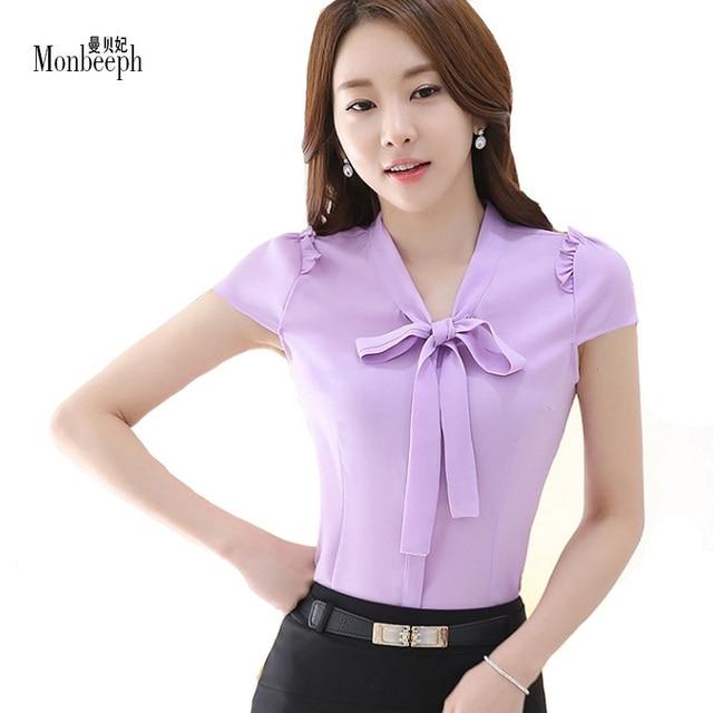 MONBEEPH Style Ladies Office Shirts 2018 Pink White Bow Tie Chiffon Women  V-Neck Blouses