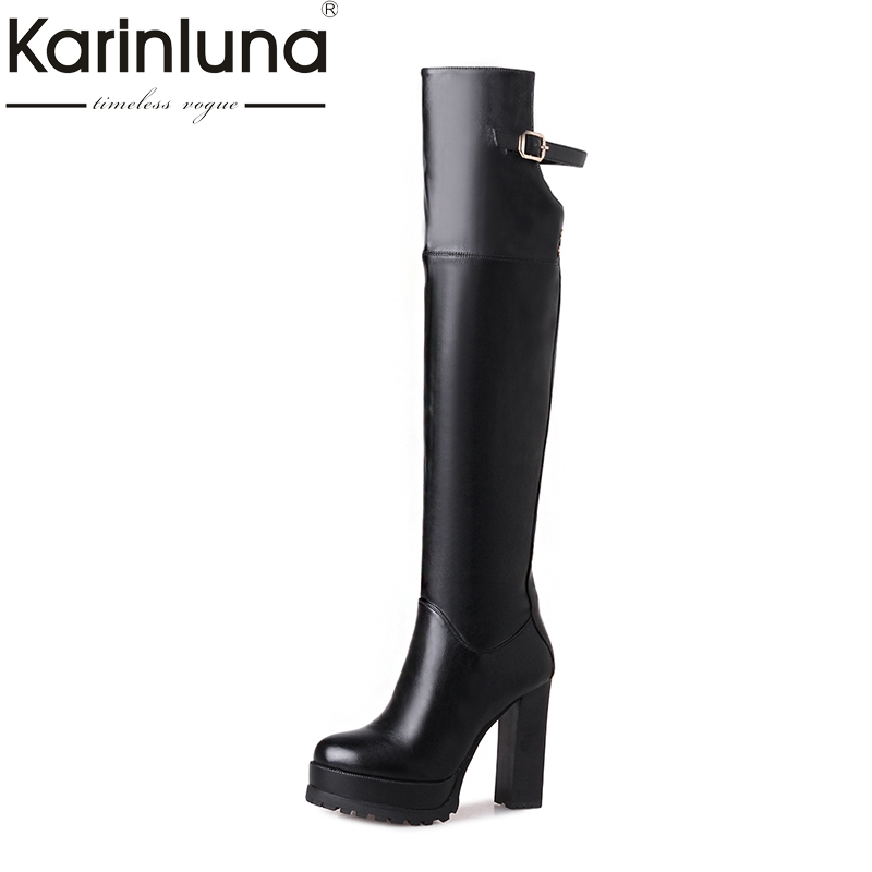 KARINLUNA Plus Size 33-43 Women Shoes Woman Thick Platform High Heel Riding Boots Winter Over The Knee Boots Footwear Black Red кронштейн kromax atlantis 100 silver для led lcd тv 37 70 5 ст своб наклон 12° поворот 180° от стены 180 725 мм max vesa 800x600мм max 91кг