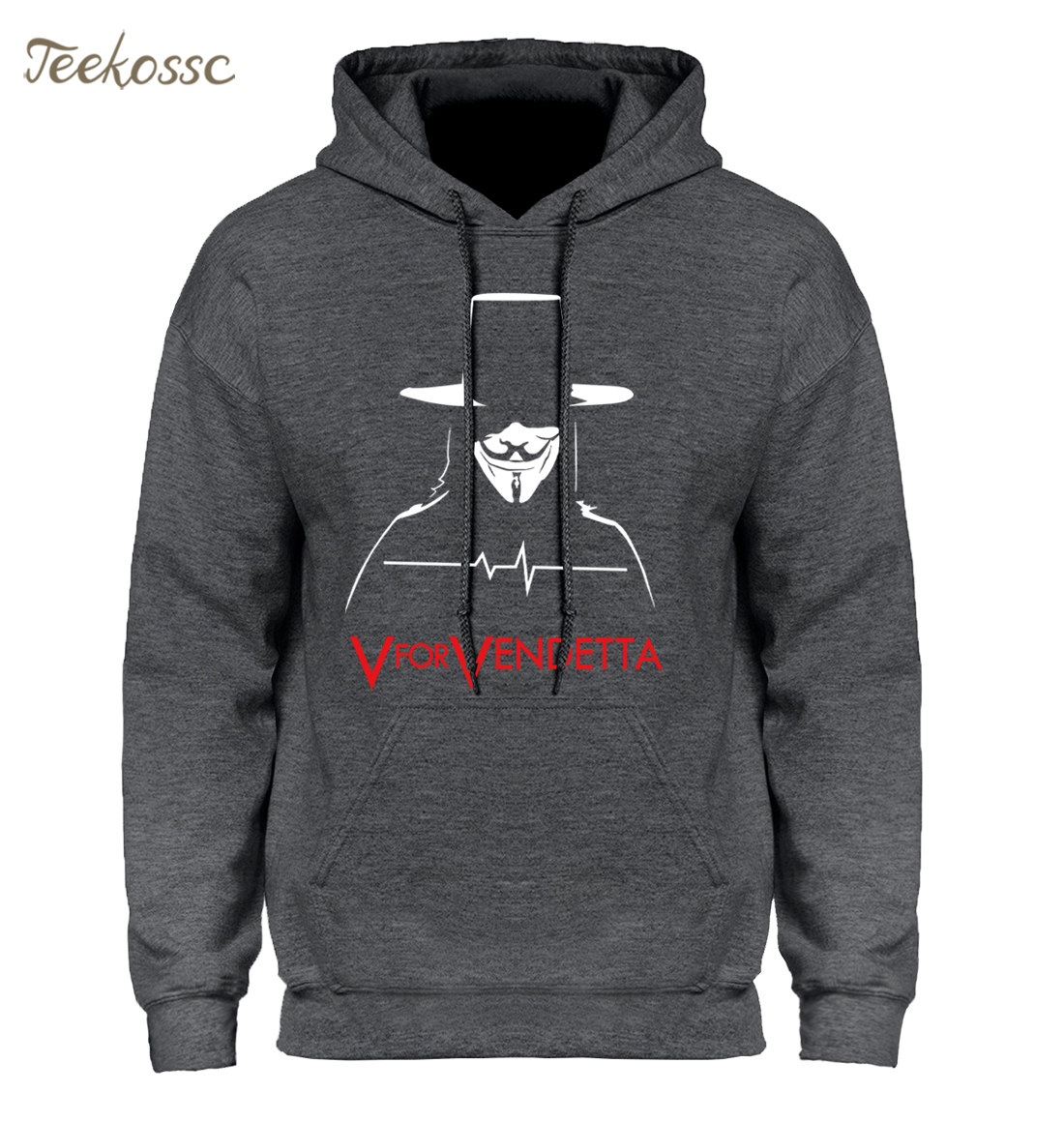 V for Vendetta Hoodies Sweatshirt Anonymous Guy Fawkes Mask Men Hoodie 2018 New Winter Autumn Hooded Swag Harajuku Hoody Homme