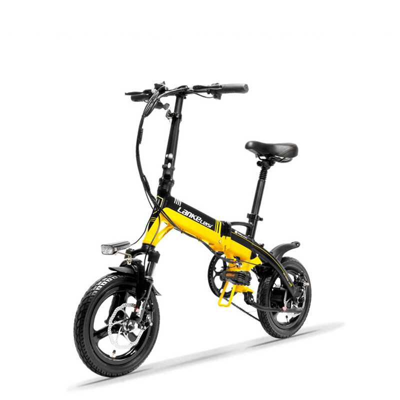 A6 Hidden Battery Mini Portable Folding E Bike, 14 Inches Electric Bicycle, Disc Brake, Magnesium Alloy Rim, High Quality image