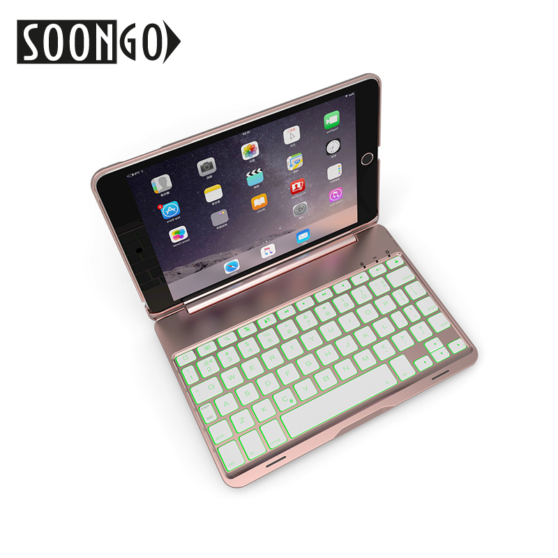 Image 5 - SOONGO 7.9 Inch Wireless Bluetooth Keyboard Cover for ipad mini4 Clamshell Backlit Keypad for Apple ipad mini4 Tablet Keyboard-in Keyboards from Computer & Office