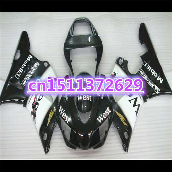black+white new ABS Fairing Set for  YZFR1 98-99 YZF R1 98 99 YZF1000 98 99 Plastic Kit  YZF1000 1998 1999-Dor D