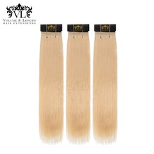 VL 3 Bundles Straight Hair Lightest Blonde Weave 100% Remy Extensions Human With Free Shipping #613