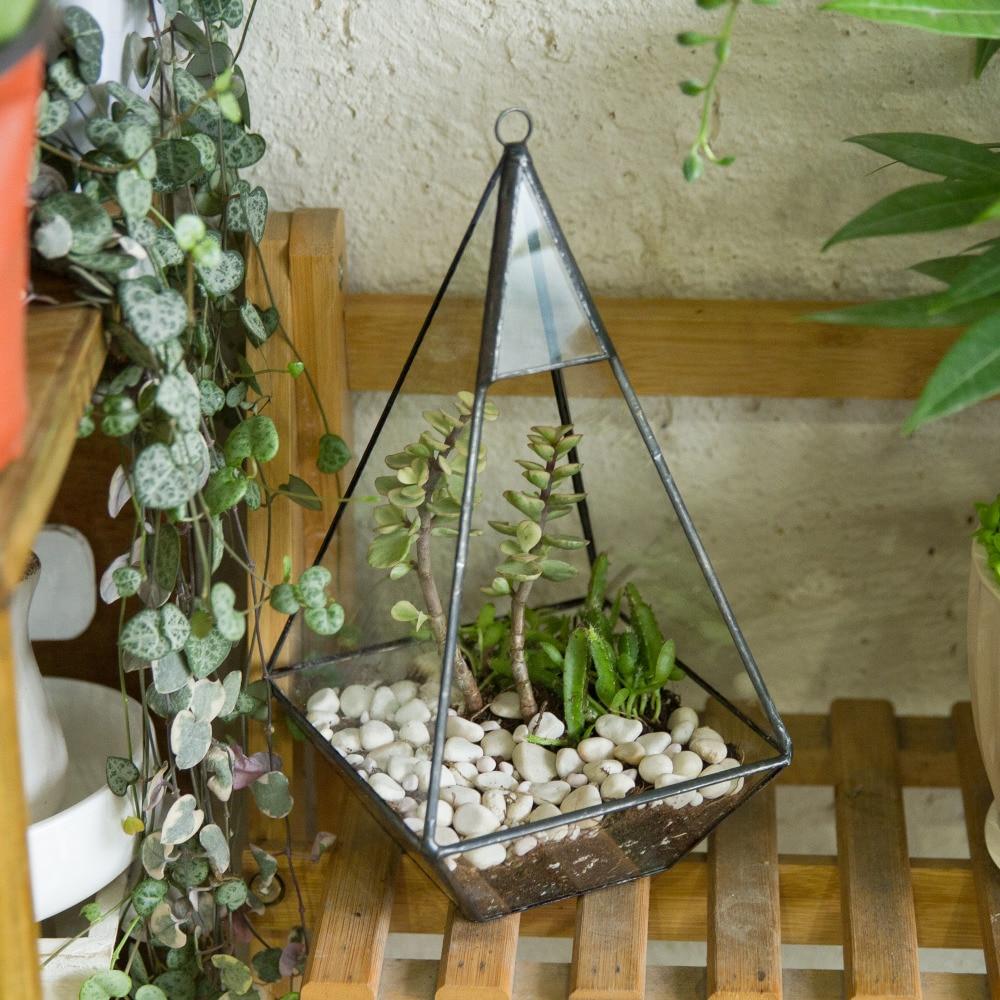 ხელნაკეთი მინის ყვავილის ქვაბი შიდა გარედან თხელი მცენარეები პლანეტა მინიატურული პეიზაჟი კედლის პირამიდა გეომეტრიული ტერარიუმის მინა