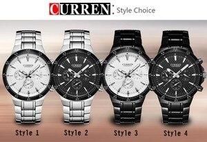 Image 5 - CURREN Fashion Full Steel Quartz Men Watch Analog Sports Male Wristwatch Classic Black&White Horloges Mannens Saat Reloj Hombre