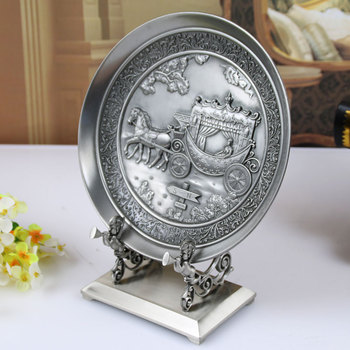 European retro display plate hanging plate living room decoration ornaments metal office desk decoration home accessories A02