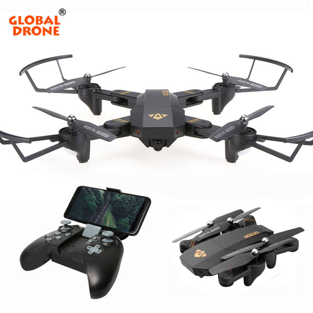 GLOBAL DRONE VISUO XS809HW Foldable Selfie Dron with HD FPV Camera Wifi Phone Control Pocket Mini Remote Control Toy RC Drone