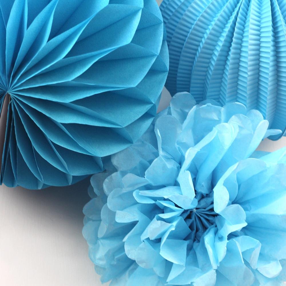 (Blue,White) 8pc Paper Decoration Set Paper Crafts for Wedding Birthday Bridal Shower Baby Shower Nursery Doorway Patio Decor