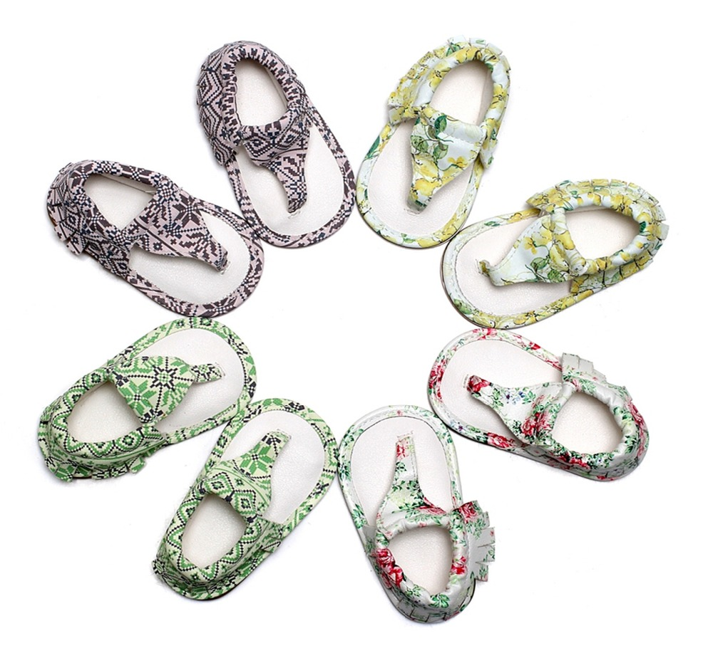 New Summer baby T-bar sandaler 4 farver Hot sale Pu læder Baby moccasiner Gummi sål dusk Baby drenge piger drenge sandaler