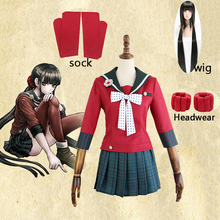 新6個danganronpa V3殺害ハーモニーharukawaマキ制服女性ガールコスプレ衣装セットとかつらハロウィン衣装