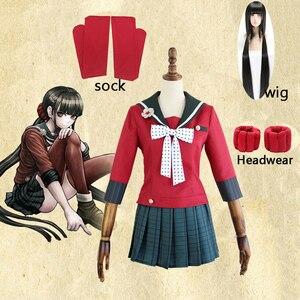 Image 1 - Nouveau 6 pièces Danganronpa V3 tuer harmonie Harukawa Maki uniforme scolaire femmes fille Cosplay ensemble de costumes et perruque déguisement dhalloween