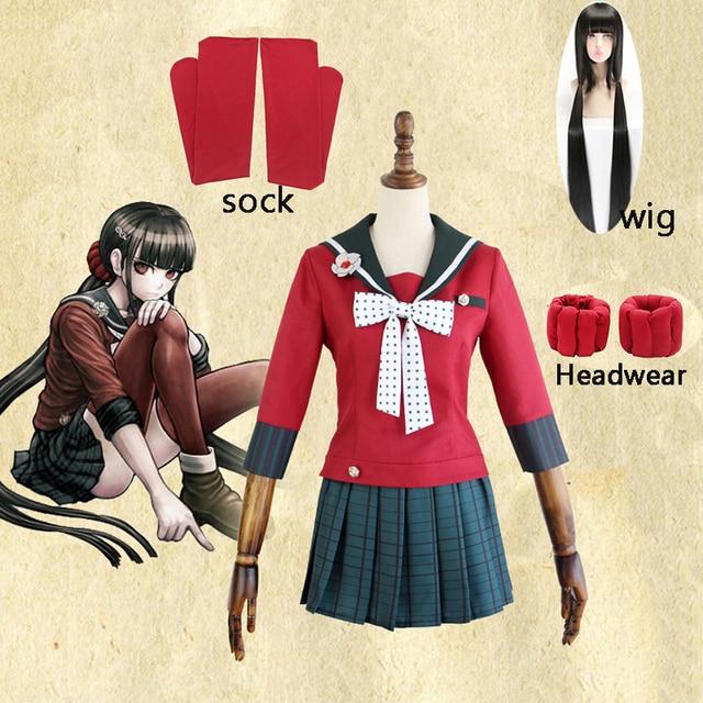 Nouveau 6 pièces Danganronpa V3 tuer harmonie Harukawa Maki uniforme scolaire femmes fille Cosplay ensemble de costumes et perruque déguisement dhalloween