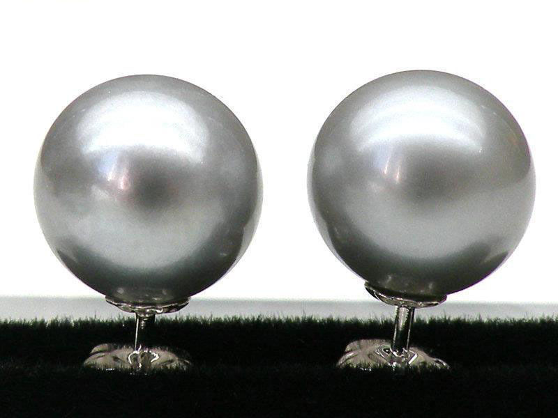 Free shipping 8.5-9mm AAA+++ ROUND SILVER GRAY SOUTH SEA PEARL EARRING 925 Sterling Silver