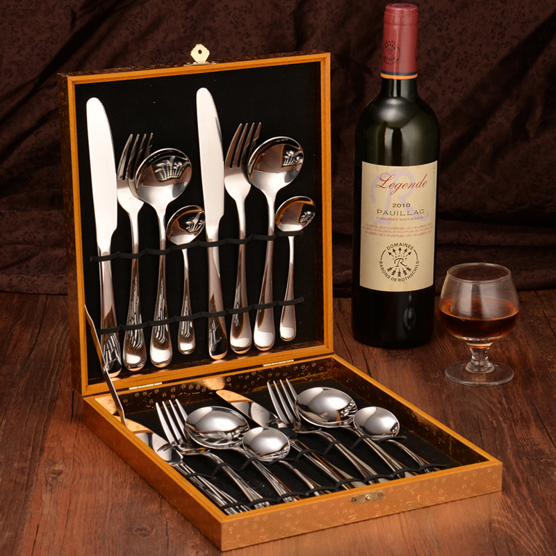 12-24 pièces 18/10 acier inoxydable argent couverts ensemble fourchette couteau cuillère argent occidental vaisselle ensemble de mariage argenterie ensemble - 2