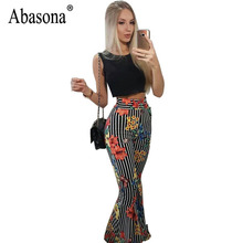 59c0b7bf552 Abasona Black and White Casual Sleeveless Floral Print Striped Palazzo Sexy Jumpsuit  Summer Wide Leg Women