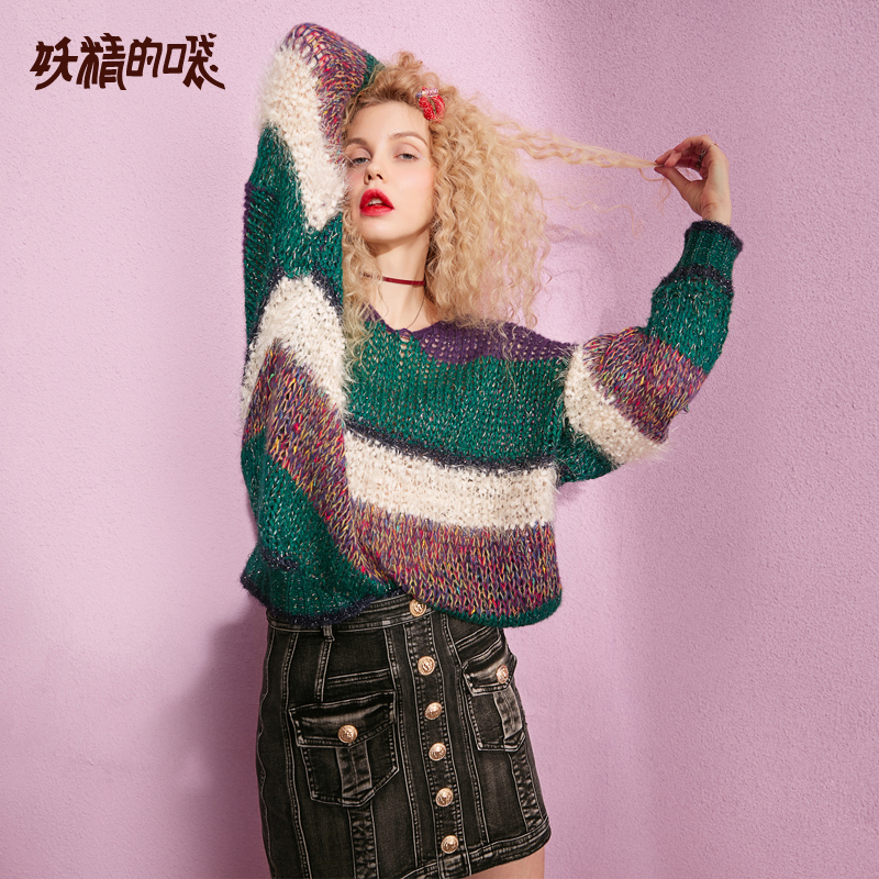 ELF SACK 2019 New Stylish Woman Sweater Casual Hand Knitted Full Women Pullovers Ladies Patchwork V